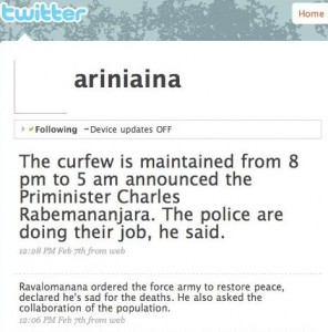 Ariniaina showing great courage and updating her Twitter hourly during the crisis in Antananarivo