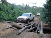 One of the many deplorable, makeshift bridges in Rivercess County