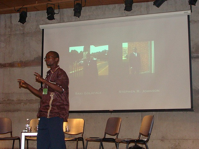 Nat Bayjay presenting presenting Ceasefire Liberia at the GV Summit. Image by Kowshik Ahmed, CC BY