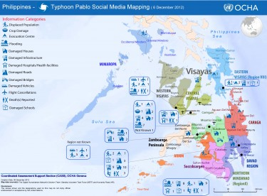 A map from OCHA's report on the typhoon in the Phillipines (2012) based entirely on data collected from social media