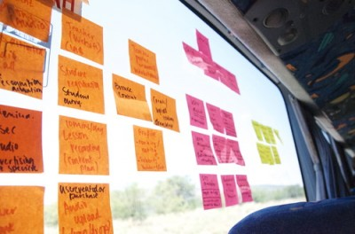 Who needs a whiteboard when you have post-it notes and a window?. Credits: http://startupbusafrica.tumblr.com/