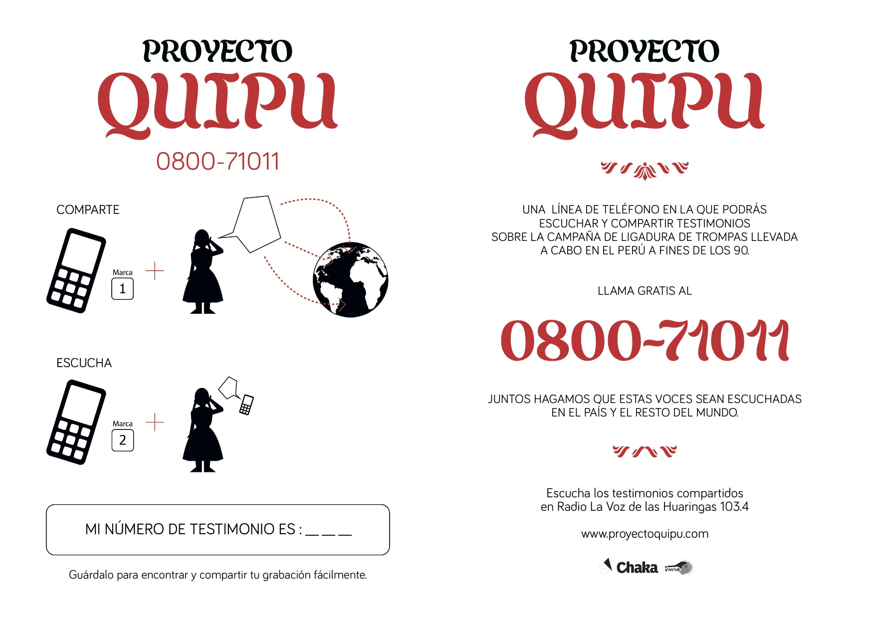 A brochure from the Quipu project advertising the program. Republished with permission.