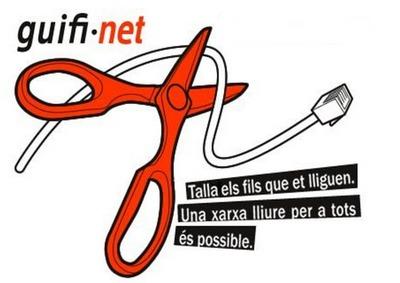 """Logotipo da guifi.net. O texto em catalão diz: """"Corta os fios que te prendem. Uma rede livre para todos é possível."""""""