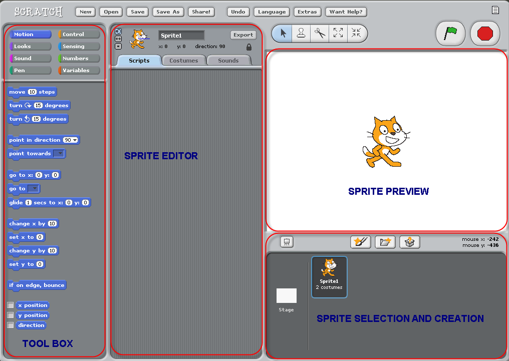Screenshot of the Scratch editor.