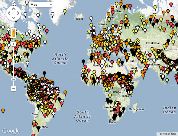 A segment of UNESCO's map of endangered languages (screenshot 20 Feb 2014).