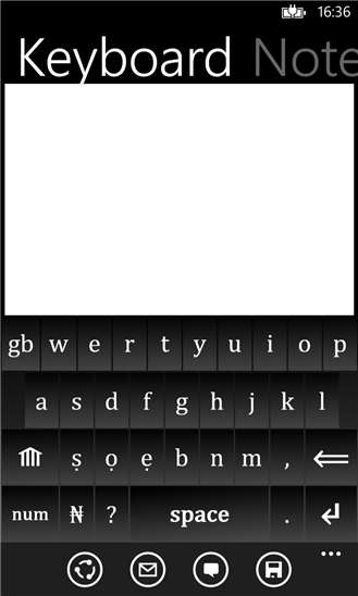 "Screenshot of ""Yoruba Keyboard"", a keyboard replacement application for typing in Yorùbá language available on the Windows Phone OS platform. Photo by Nuges Apps under CC BY 2.0."