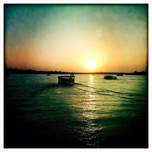 Sunset on the Zambezi River, just above Victoria Falls, on the Zimbabwe - Zambia border. May 2012. Photo by Austin Merrill.