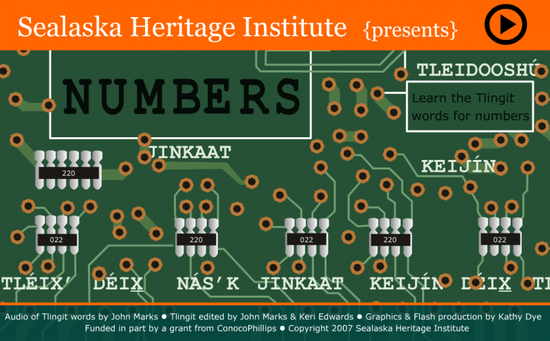 Front page of Sealaska's Flash-based resource to learn numbers in Tlingit.