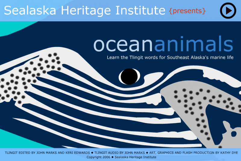 Sealaska Institute's Flash-based learning tool for learning ocean animals in Tlingit (Screen shot 2-14-14)