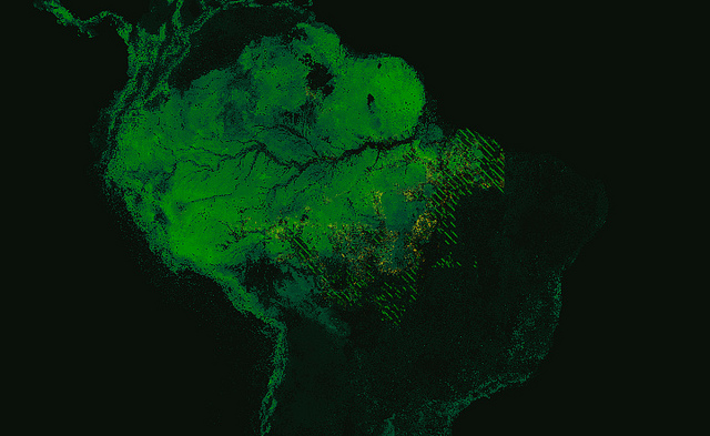 Forest cover and deforestation in Amazonia. Image by Mapbox and used under a CC BY 2.0 license.