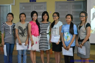 Recognition of project participants with Sopheap Chak, CCHR Executive Director. Photo by CCHR.