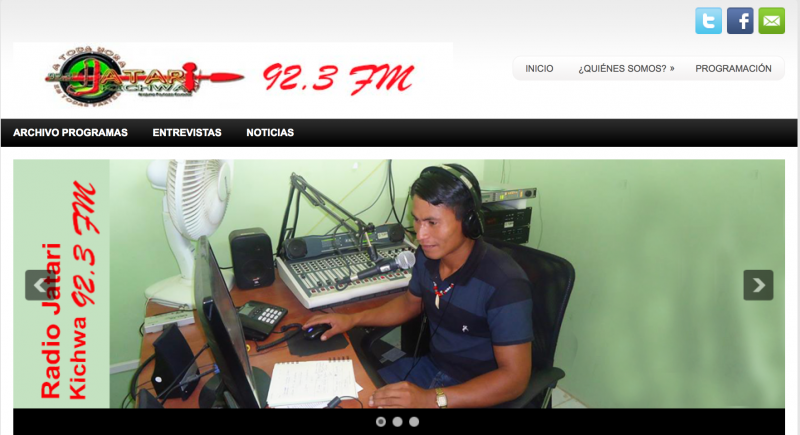Screenshot of the Radio Jitari Kichwa website