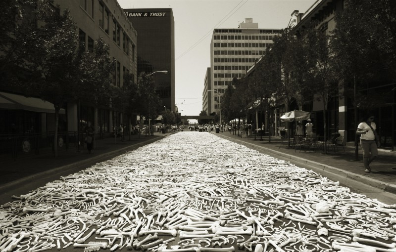 Preview installation on Route 66 in Albuquerque, New Mexico. Photo credit: One Million Bones