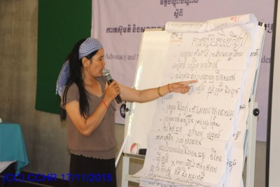 Presentation by a participants during the Training Session on Advocacy and Mental Health for WHRDs.