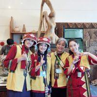 Lami Tsai-Wei Hung and her Sakizaya friends Hana Ateng, Sabak Nubu and Dayas Siku take a happy pose after a cultural conference.