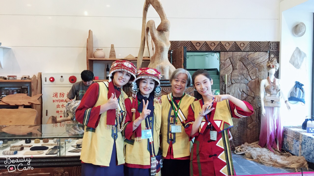 Lami' Tsai-Wei Hung and her Sakizaya friends Hana Ateng, Sabak Nubu and Dayas Siku take a happy pose after a cultural conference.