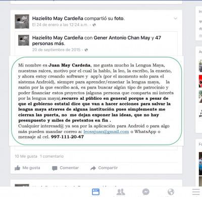 Tocando puertas para financiar sus proyectos Juan May difunde periodicamente en sus redes sociales, los proyectos que tiene.