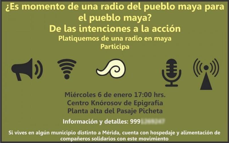 Invitación para platicar sobre sobre la radio maya. Imagen tomada del perfil de Facebook de Yazmín Novelo.