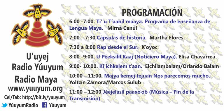 Programación de Yuuyum Radio. Foto tomada de la página de Internet de la radio.